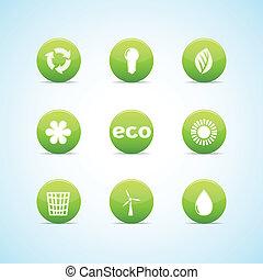 緑, デザイン, エコロジー, セット, アイコン