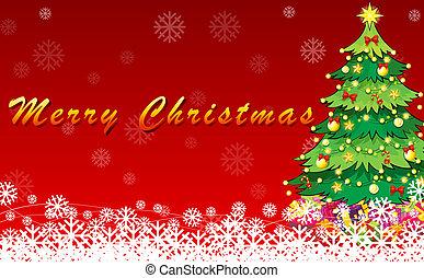 緑, デザイン, 木, クリスマスカード