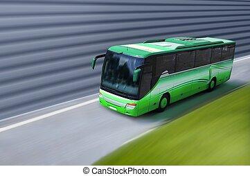 緑, バス, 上に, 道