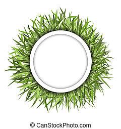 緑, フレーム, 草, デザイン, あなたの