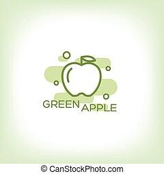 緑, ベクトル, -, アップル, logo.