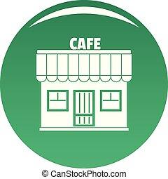 緑, ベクトル, カフェ, アイコン