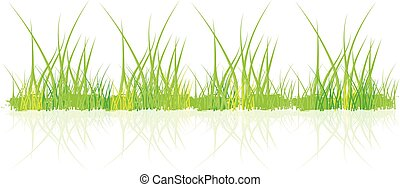 緑, ベクトル, デザイン, 草