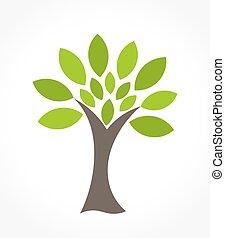 緑, ベクトル, 木, イラスト