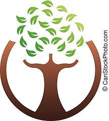 緑, ベクトル, 木, 環境, ロゴ