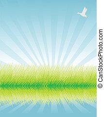 緑, ベクトル, 草, イラスト, 背景