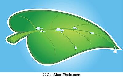 緑, ベクトル, 葉
