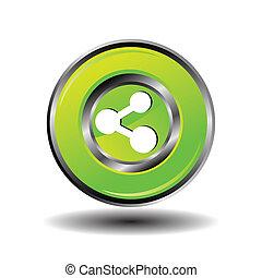 緑, ボタン, ベクトル, 分け前, グロッシー