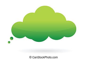 緑, メッセージ, 泡, 考えなさい
