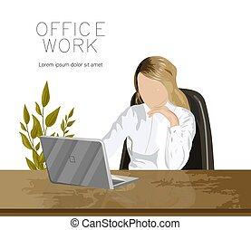 緑, ラップトップ, オフィス, 仕事, 植物, 女の子