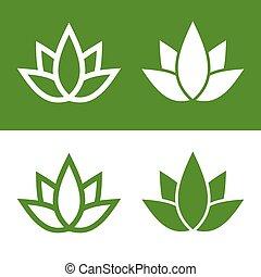 緑, ロータス, 植物, アイコン, セット, logo., ベクトル