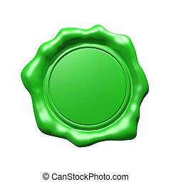 緑, ワックスの シール, -, 隔離された
