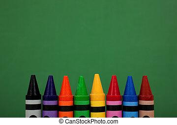 緑, 上, 黒板, 背景, クレヨン