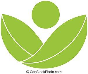 緑, 健康, 自然, ロゴ