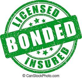 緑, 切手, 認可された, bonded, 保険を掛けられた
