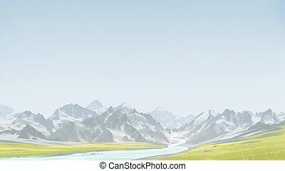 緑, 前方へ, 谷, 山。