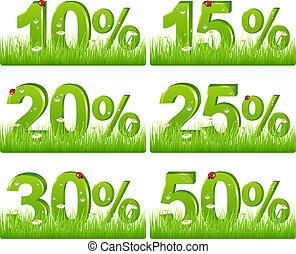 緑, 割引, 数字, 中に, 草