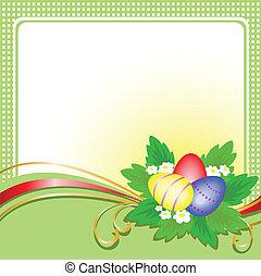 緑, 卵, イースター, カード