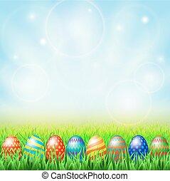 緑, 卵, 日当たりが良い, 牧草地, イースター