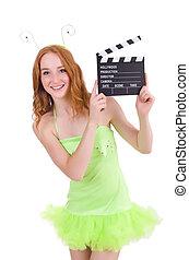 緑, 女, 服, 板, 映画
