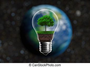 緑, 実生植物, 中に, a, 電球, 代替エネルギー, 概念, に対して, a, ぼやけた背景, の, 惑星地球, 中に, スペース