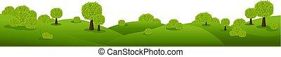 緑, 性質の景色, 隔離された, 白い背景