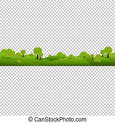 緑, 性質の景色, 隔離された, 透明, 背景