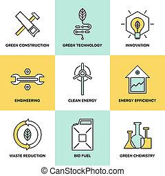 緑, 技術, そして, クリーンエネルギー, 平ら, アイコン, セット
