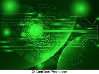 緑, 技術, 背景, 抽象的, デジタル, 技術, 円