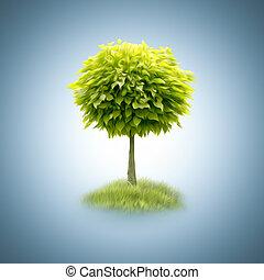 緑, 抽象的, 木