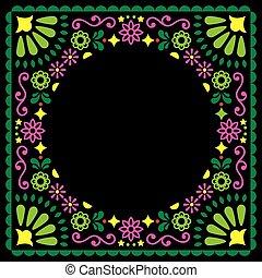 緑, 招待, 挨拶, デザイン, 結婚式, 花, 背景, メキシコ人, ベクトル, ピンク, 人々, 黒, スタイル, パーティー, カード, ∥あるいは∥
