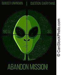 緑, 旗, サイエンスフィクション, スペース, 狙撃兵, targeted., 外の, 下に, ufo, 頭, 生きもの, 外国人, 奇妙, 概念, vector., hunter's, ある, poster.