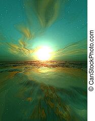 緑, 日の出