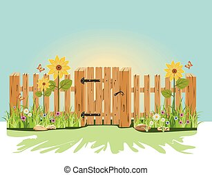 緑, 木製のフェンス, 門