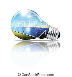緑, 概念, 電球, ライト