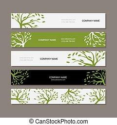 緑, 横, セット, 木, 旗