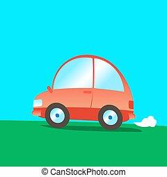緑, 漫画, grass., 乗車, 自動車, 赤