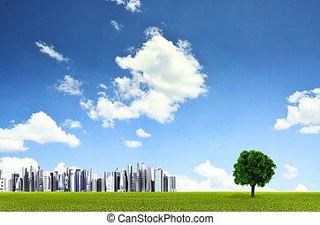 緑, 環境, 背景, ∥で∥, a, まっすぐに, 地平線, ライン, の, 芝生フィールド, a, 孤独, 木,...
