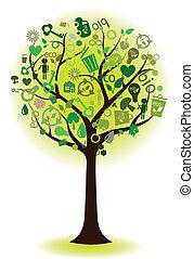 緑, 生態学的, 木, アイコン