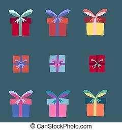 緑, 箱, 背景。, コレクション, 贈り物