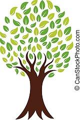 緑, 自然, 木, ベクトル, ロゴ