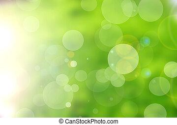 緑, 自然, bokeh, 背景, 抽象的
