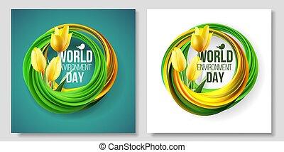緑, 花, ベクトル, bio, カード, エコロジー, チューリップ, nature., leaves., 黄色, 環境, june., 5, イラスト, 背景, 世界, 白, 旗, 日
