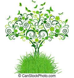 緑, 蝶, 木, レース