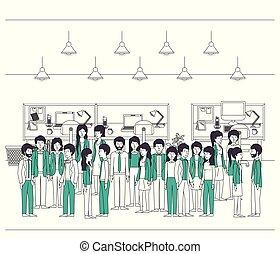 緑, 衣服, グループ, オフィスの人々