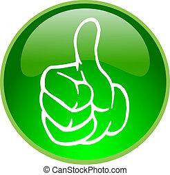 緑 親指, の上, ボタン