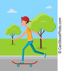 緑, 訓練, skateboarder, 木, skatepark