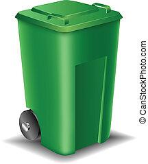 緑, 通り, ゴミ箱