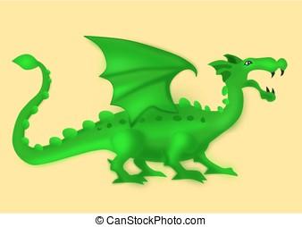 緑, 隔離された, ドラゴン