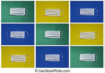 緑, 青, 美顔術, 背景, 白, 黄色, マスク